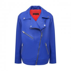 Кожаная куртка Maslov. Цвет: синий