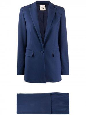 Костюм-двойка с брюками широкого кроя Semicouture. Цвет: синий