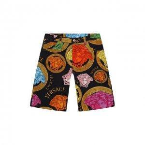 Хлопковые шорты Versace. Цвет: разноцветный
