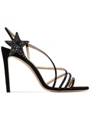 Black Lynn 100 crystal embellished suede sandals Jimmy Choo. Цвет: черный