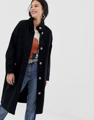 Черное легкое пальто миди с большими карманами -Черный Monki