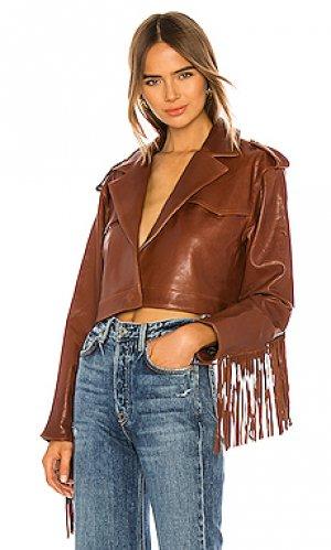 Кожаная куртка с бахромой sadie GRLFRND. Цвет: коричневый
