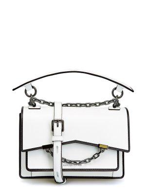 Белая сумка K/Karl Seven из гладкой кожи с контрастной окантовкой KARL LAGERFELD. Цвет: белый