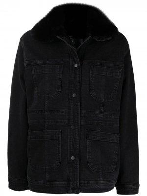 Джинсовая куртка с воротником из искусственного меха LIU JO. Цвет: черный