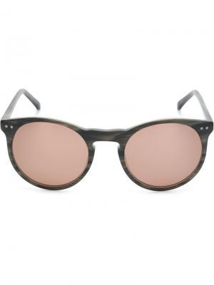 Солнцезащитные очки с круглой оправой Lesca. Цвет: коричневый