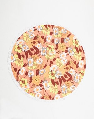 Круглое пляжное полотенце с цветочным принтом в стиле ретро -Коричневый Brave Soul