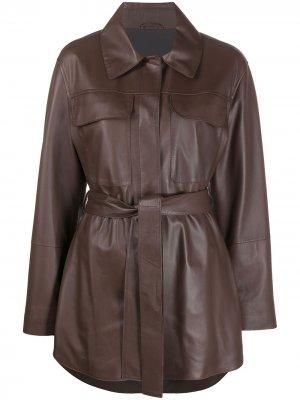 Куртка с поясом Brunello Cucinelli. Цвет: коричневый