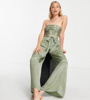 Пляжные брюки цвета хаки с широкими штанинами и завязкой от комплекта ASOS DESIGN Tall-Зеленый цвет Tall