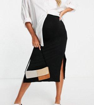 Черная юбка в рубчик с двумя разрезами Maternity-Черный цвет Topshop