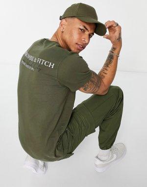 Зеленая футболка с градиентным принтом логотипа на спине -Зеленый цвет Abercrombie & Fitch
