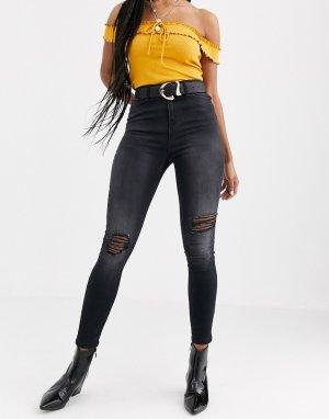 Черные выбеленные джинсы скинни с рваной отделкой Lizzie-Черный Miss Selfridge