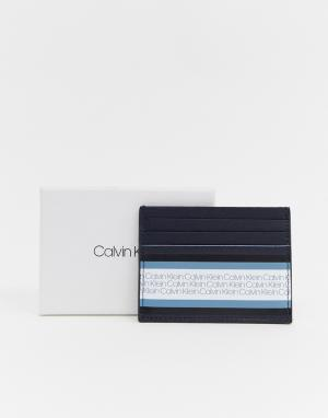 Визитница с логотипом Calvin Klein. Цвет: темно-синий