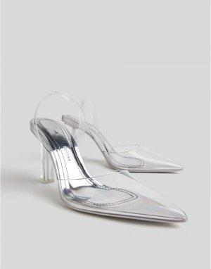 Прозрачные туфли-лодочки с острым носком -Белый Bershka