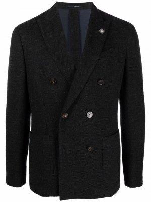 Double-breasted wool blazer Lardini. Цвет: черный