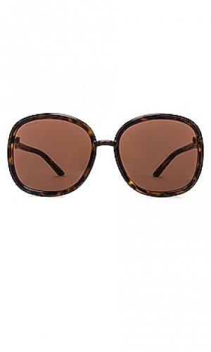 Солнцезащитные очки horsebit tubolar oversize square Gucci. Цвет: коричневый