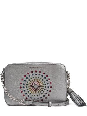 Кожаная сумка с декором MICHAEL KORS. Цвет: разноцветный