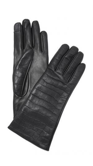 Текстурированные перчатки из кожи с мелким тиснением под крокодила Carolina Amato. Цвет: голубой