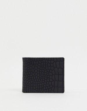 Черный бумажник с эффектом крокодиловой кожи Smith & Canova-Черный цвет And Canova