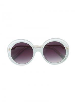 Солнцезащитные очки в круглой оправе Chloé Kids. Цвет: зеленый