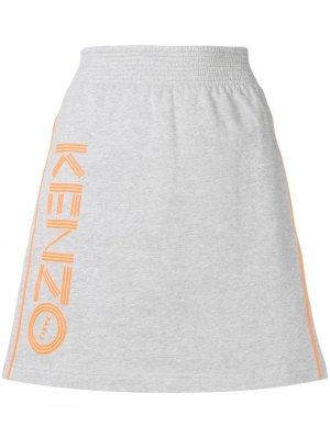 Юбка А-силуэта в спортивном стиле Kenzo. Цвет: серый