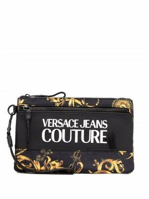 Кошелек с принтом Barocco и аппликацией логотипа Versace Jeans Couture. Цвет: черный