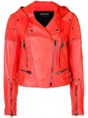Biker cropped jacket Tom Ford. Цвет: красный