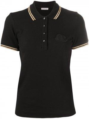 Рубашка поло с нашивкой-логотипом Moncler. Цвет: черный