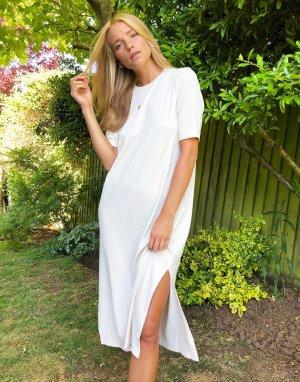 Светлое платье-футболка миди -Белый Monki