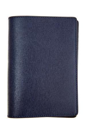 Обложка для документов из сафьяновой кожи темно-синего оттенка CANALI. Цвет: синий