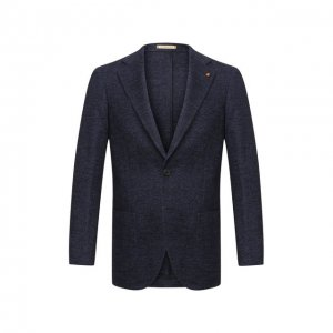 Пиджак из шерсти и хлопка Sartoria Latorre. Цвет: синий