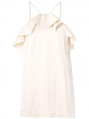 Блузка с оборками Andrea Marques. Цвет: белый