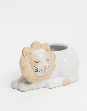 Горшок для растений со львом Leo-Белый Sass & Belle