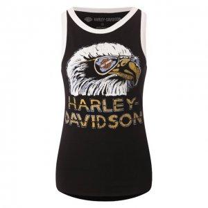 Хлопковая майка Garage Harley-Davidson. Цвет: чёрный
