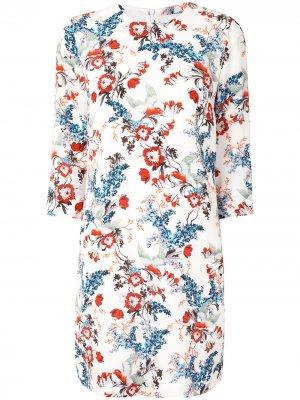 Floral-print silk dress Erdem. Цвет: белый