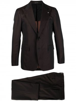 Полосатый костюм с однобортным пиджаком Tagliatore. Цвет: коричневый