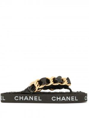 Сандалии 1993-го года с цепочкой на ремешке Chanel Pre-Owned. Цвет: черный