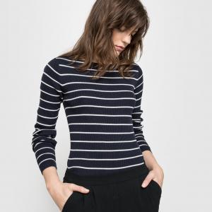 Пуловер в полоску из вискозы и хлопка, с круглым вырезом R essentiel. Цвет: темно-синий в полоску экрю