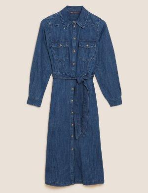 Джинсовое платье-рубашка с поясом M&S Collection. Цвет: деним