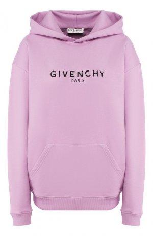 Хлопковое худи Givenchy. Цвет: сиреневый