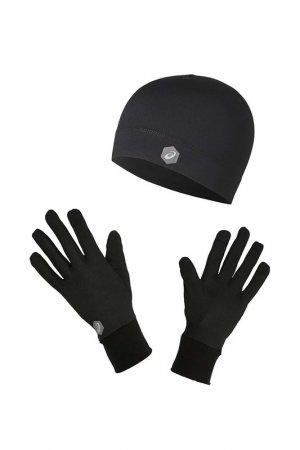Шапка и перчатки RUNNING PACK Asics. Цвет: черный