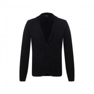 Шерстяной пиджак Emporio Armani. Цвет: синий