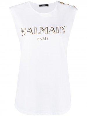 Топ с логотипом Balmain. Цвет: белый
