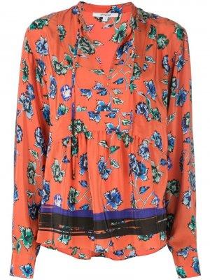 Блузка с расклешенным подолом и цветочным принтом Derek Lam 10 Crosby. Цвет: красный