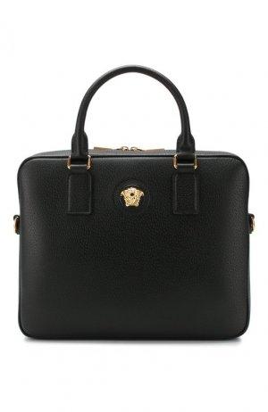 Кожаная сумка для ноутбука Versace. Цвет: чёрный