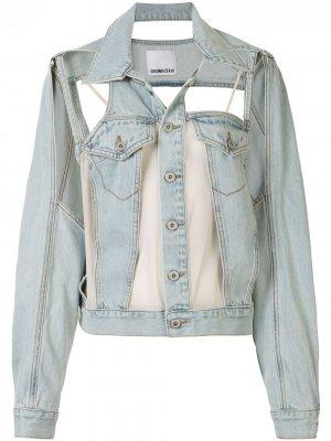Джинсовая куртка с вырезами Ground Zero. Цвет: синий