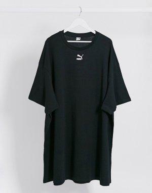Черное платье-футболка с логотипом -Черный цвет Puma