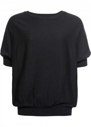 Пуловер с круглым вырезом bonprix. Цвет: черный