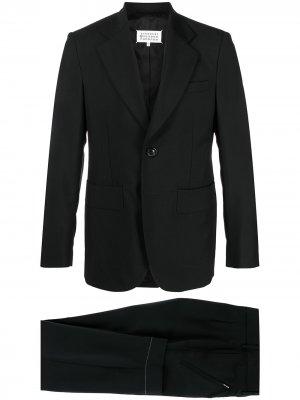 Костюм с однобортным пиджаком и контрастной строчкой Maison Margiela. Цвет: черный