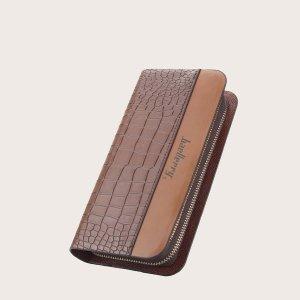 Мужской кошелек с крокодиловым тиснением на молнии SHEIN. Цвет: коричневые