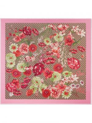 Шаль с принтом весенних цветов Gucci. Цвет: разноцветный